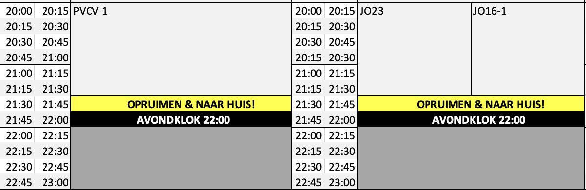 UPDATE:  Trainingsschema voor avondklok om 22:00 uur verlengt tot en met dinsdag 27 april.