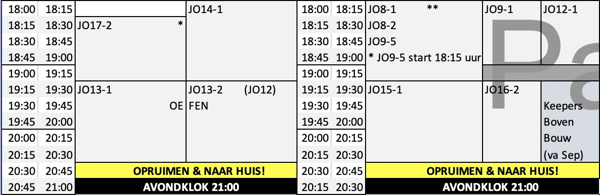 UPDATE 22 Feb: Aangepast trainingsschema door avondklok bij PVCV vanaf maandag 25 januari